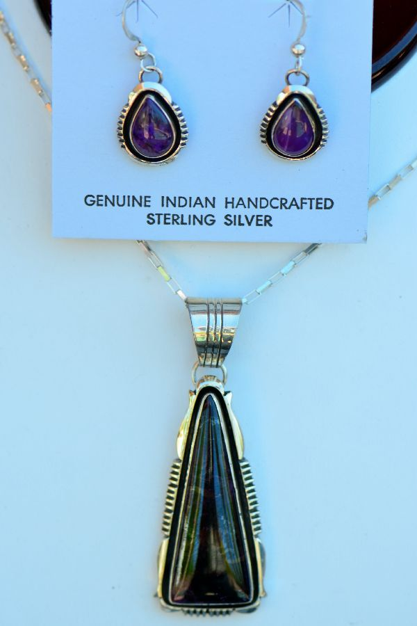 Navajo – High Grade Sterling Silver Sugilite Pendant and Earring Set