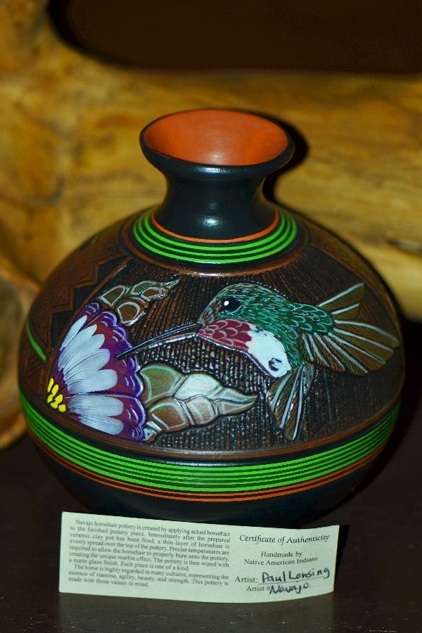 Paul Lansing Hand Etched and Painted Hummingbird Pottery Vase