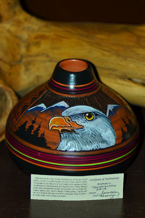 Paul Lansing Hand Painted Eagle Pottery