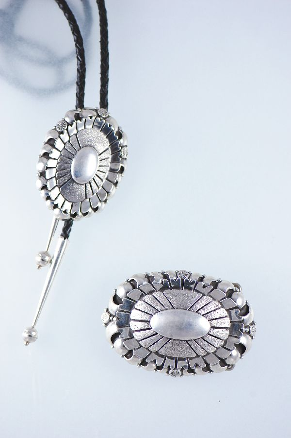 Navajo Sterling Silver Buckle and Bolo Tie Set